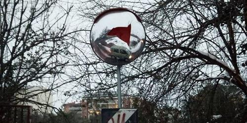 Strada Capretta Specchio Parabolico Del Sottopassaggio