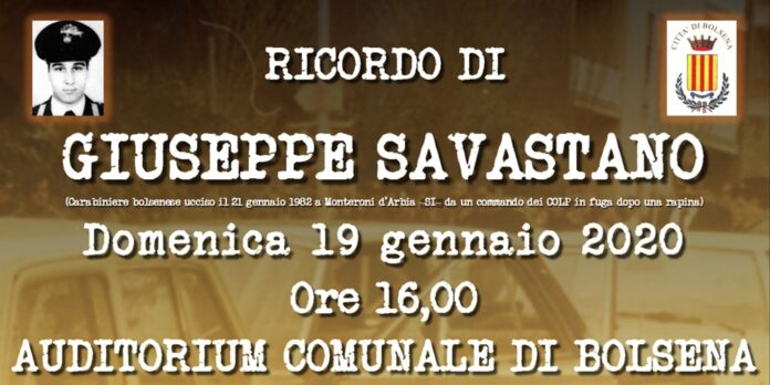 Bolsena, ricorrenza del 38° anniversario della morte del giovane Carabiniere bolsenese Giuseppe Savastano