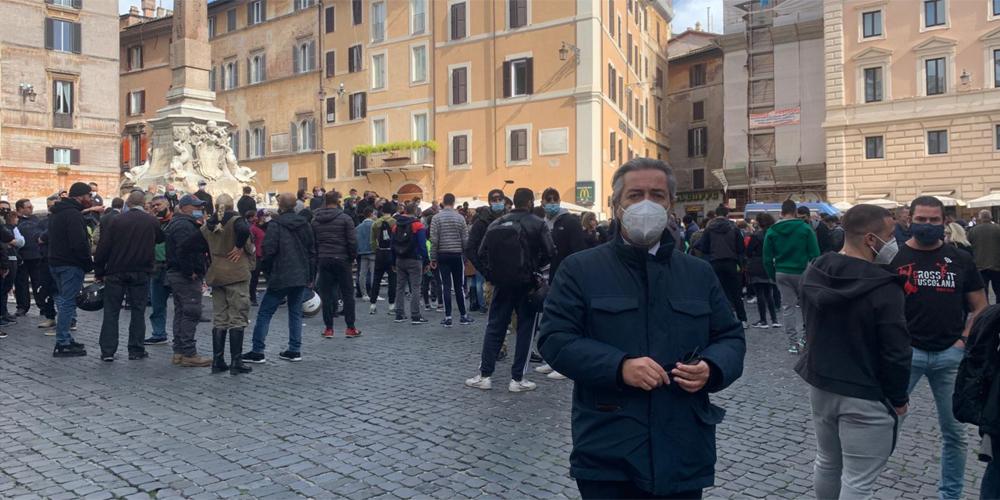 Francesco Battistoni alla Manifestazione di Roma