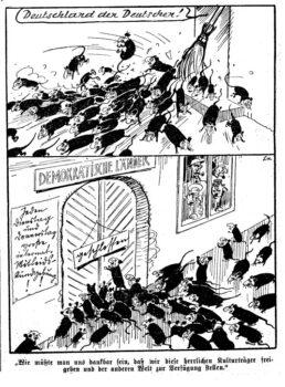 Vignetta apparsa sulla stampa nazista che paragona gli ebrei a ratti di cui liberarsi.