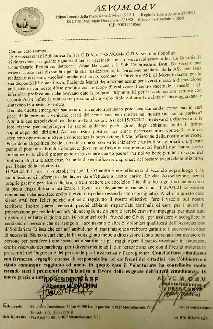 Comunicato ASVOM